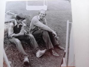 22 augustus 1981. Bij ons in de tuin na de wedstrijd SEH-HFC (veteranen); uitslag 1-2.