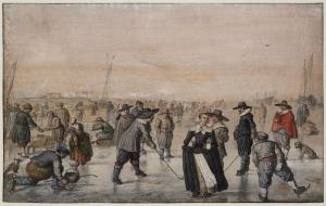 Hendrick Averkamp (1585-1634) 'schaatsgenoegens bij Kampen'. Averkamp wereldberoemd om zijn winterse taferelen. Hij was doofstom en werd 'de stomme van Kampen' genoemd.