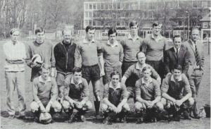 1969. HFC 1: Voorste rij vlnr rechts: F. v. d. Wal, H. Koenders, H. J. Bettink, H. A . Wijkhuizen , J. P. Thole, E. J. Koenders;  achterste rij vlnr: E. Thole, J. P. H . Dalmeyer, grensrechter J. C. A. Luining, J. F. H. Tekelenburg, C. D. van Schouwenburg